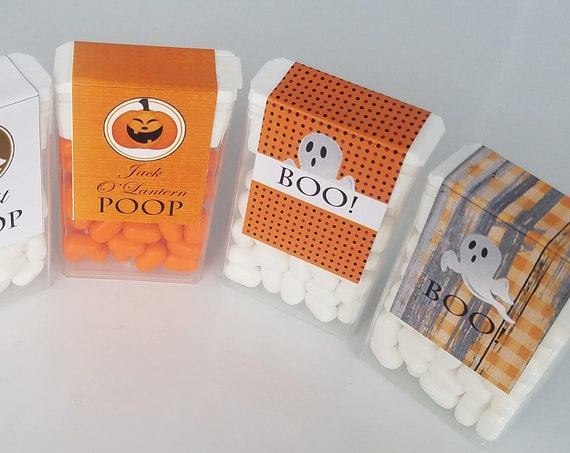 Jack O'Lantern Poop Tic Tacs, Halloween Tic Tacs, Jack O'Lantern Tic Tacs, Halloween Party favors, Halloween Favors. Set of 20 Tic Tacs