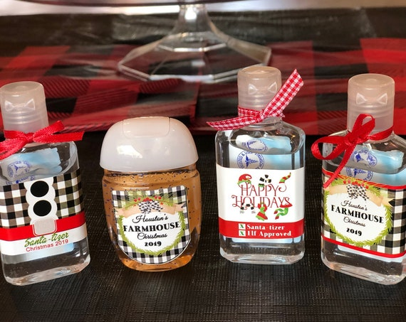Labels Only. Farmhouse Christmas Hand Sanitizer labels,,Plaid Black and White Christmas Hand Sanitizer labels,.Qty varies. Read Description.