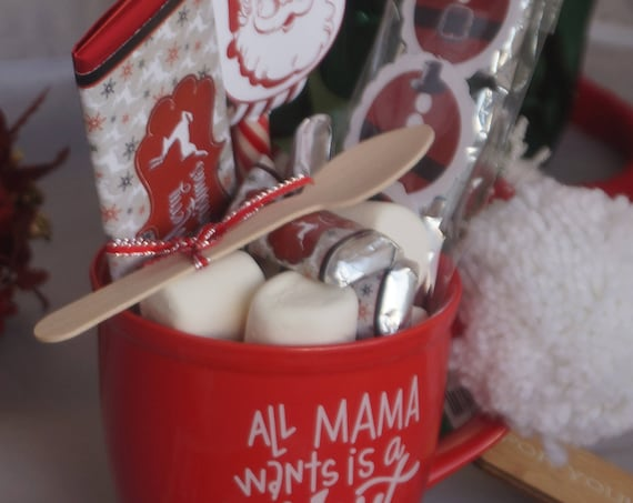 Personalized All Mama wants is a Silent Night Christmas Mug Gift Set, Christmas Cocoa or Coffee Gift Set, Coffee Lovers Gift Set.