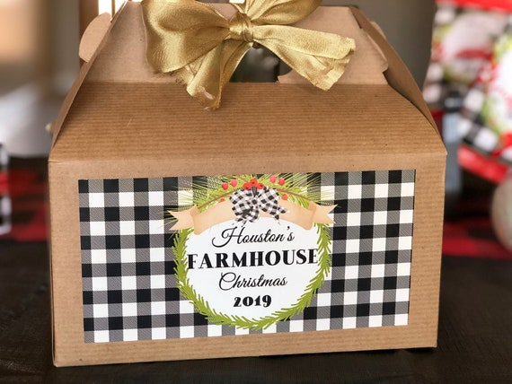 Farmhouse Gable Box, Farmhouse Christmas Gift Box, Black and White Plaid Farmhouse Gable Box. Set of 1.