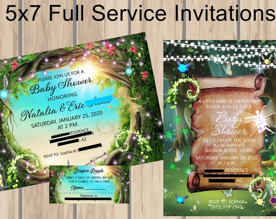 4 Designs for Fairy Theme Party Invitations, Fairy Birthday Invitations, Fairy Soiree, Fairy Woodland Invitations. Set of 24