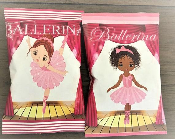 Ballerina Potato Chip Bags, Ballerina Recital Chip Bags, Ballerina Birthday Party, Ballet Chip Bags.  Set of 12,