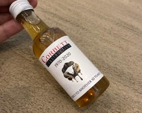Whiskey Mini Liquor Bottle Label, Mini liquor bottle labels, Business Branded mini liquor bottle label. Set of 12