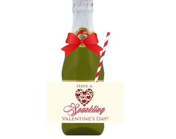 Have a Sparkling Valentine's Day, Apple Cider Valentine's Day labels, Mini Cider Labels, Sparkling Cider Labels. Sold in sets of 12