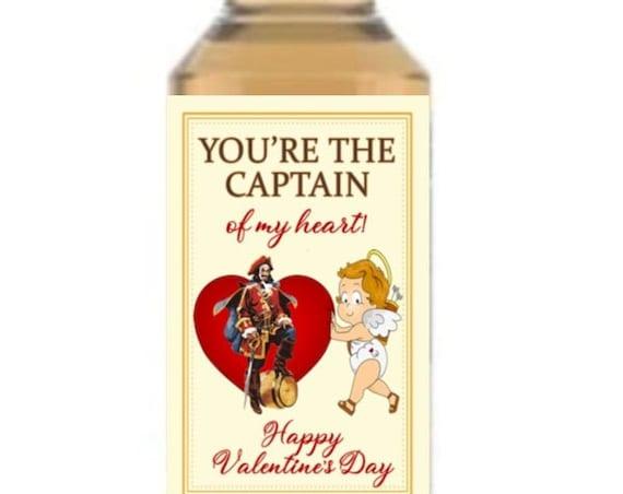 You're the Captain of my heart Mini Liquor Bottle Labels, Valentine's Day Mini Liquor Bottle Labels,You're the Captain Mini Liquor.Set of 12