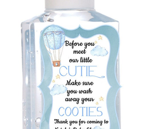 Labels only. Purell Hot Air Balloon Baby Shower Hand Sanitizer Labels, ,Baby Shower Favors, Set of 15 for 1 oz OR Set of 20 for 2 oz