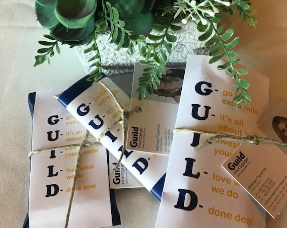 Business Branded Chocolate Wrappers, Personalized Business Branded Chocolate Branding. Set of 20