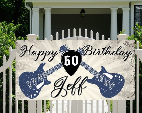 FAST TURNAROUND. Vintage Guitar Dude Party Banner, Rock n Roll Party Banner, Guitar Party Theme Banner, Retro Rock N Roll Party Banner.