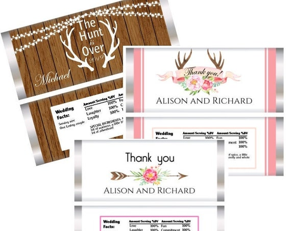 WRAPPERS ONLY: Hunt is Over Wedding Candy Bar Wrappers, Hunt is Over Wood Faux, Pink wedding with Antlers, Wedding with Bow. Set of 20
