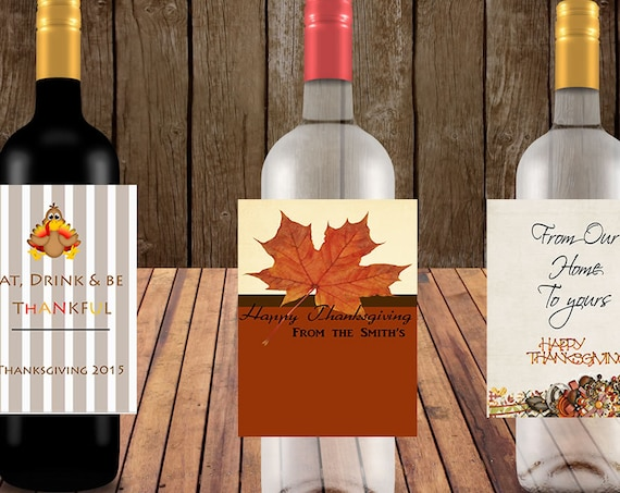 Fall Wine Labels, Personalized Thanksgiving  Wine Labels, Eat Think and Be Thankful Wine Labels, Set of 4