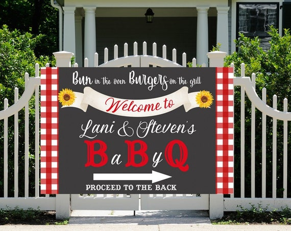 4 sizes available  Welcome Baby Q Baby Shower Banner, Baby Q Banner, BBQ Shower Banner, BBQ Baby Shower Banner.