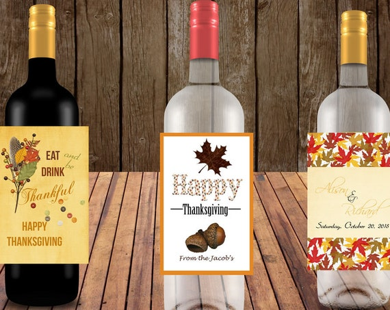Personalized Fall Wine Labels,friendsgiving,falliday,Wine Labels,Eat Drink Be Thankful Wine Labels,Happy,Thanksgiving Wine Labels. Set of 4