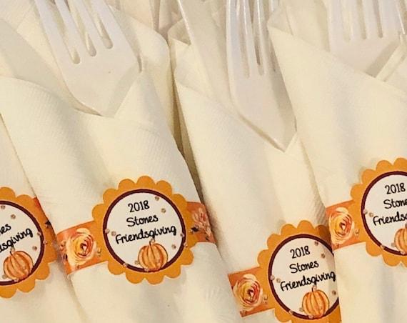 Friendsgiving napkin wraps, Personalized Friendsgiving wraps, personalized napkin labels, Friendsgiving party favors. Set of 12.