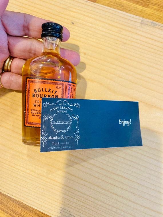 Mini Bourbon Liquor Bottle Label, Mini  liquor bottle labels, Birthday Mini Liquor labels, Mini Rum Liquor Birthday Bottle labels.Set of 12