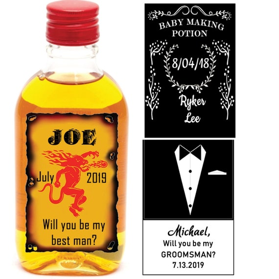 Mini Liquor bottle labels, Birthday Liquor mini labels. Whisky mini bottle labels. Cinnamon Whisky liquor labels. Set of 12 labels.