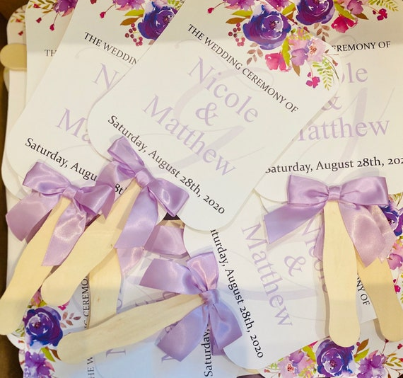 Set of 10. Fully Assembled Wedding Fans, Hand Fans, Personalized Fans, Paddle Fans, Wedding Fans Favors, Purple Wedding Favors, Floral Fans.