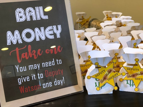 Bail Money Favor Box, Sheriff Bag Money Favor Box, I'll Bring the Bail Money, Law Enforcement Bail Money Bag, Sheriff's Bail Money.Set of 10