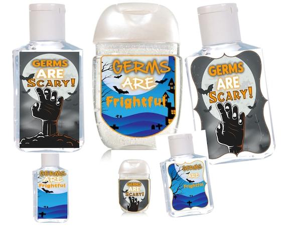 Label Only. Halloween Hand Sanitizer Labels 1 & 2 oz  Halloween Hand sanitizer party favors. Set of 15, set of 20.See descrpt.