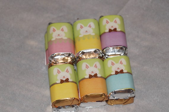 Easter Bunny Miniatures, Easter Bunny Wrapped Chocolate, Bunny Bow Tie, Easter Bunny Hershey's Minis.  Set of 30