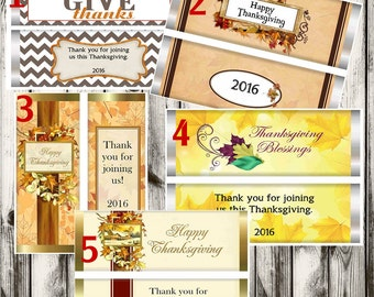 Thanksgiving Candy Bar Wrappers, Thanksgiving party favors, Thanksgiving Guests Candy Bar Wrappers,Thanksgiving Table Favors. Set of 20