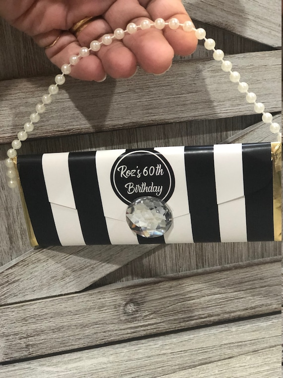 WRAPPER ONLY. Designer purse inspired Chocolate Purse, Chocolate Purse,  Black and White Stripe Chocolate Clutch Purse,  Set of 20.