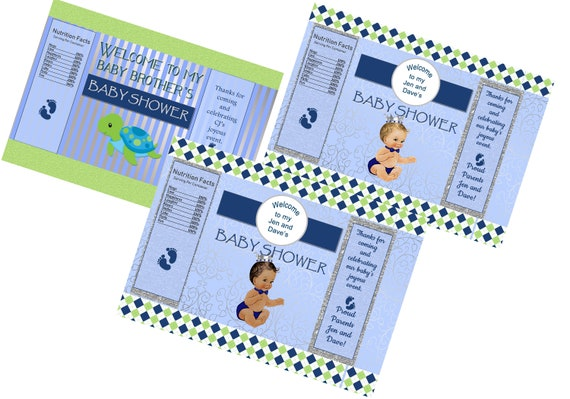 Chip Bags-Wrappers only. Blue, Green, and Silver Baby Shower, Baby Boy Chip Bags, Baby Boy Shower, Baby Prince Baby Shower. Set of 12,