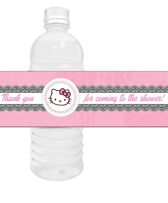 Hello Kitty Water Bottle Labels Party Favors