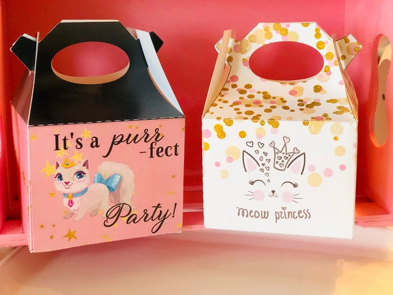 Kitty Cat Gable Box, Kitty Party Favor Box, Kitty Party Theme Favor Box, Purr-fect Favor Box, Meow Princess Favor Box. Sets of 10.