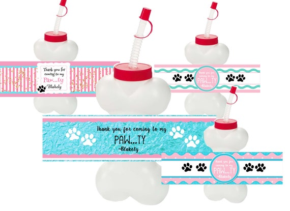 WRAPPER ONLY Dog Bone Cups, Puppy Party Favors, Kid Dog Party, Pawty Patrol Bone Cups.  Set of 10