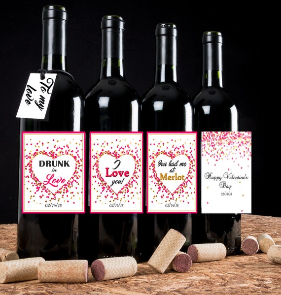 Personalized Valentine's Day Wine Labels, Valentine's Day Wine Labels, Valentine's WIne Labels. Set of 4