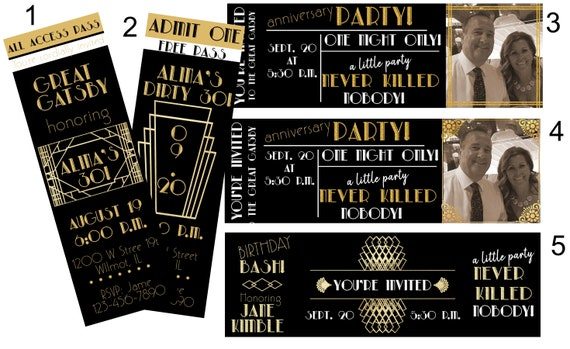 Personalized Roaring 20s Invitations,Roaring 20s Invitation. Prohibition Birthday Invitations, Great Gatsby Celebration Invitation.Set of 24