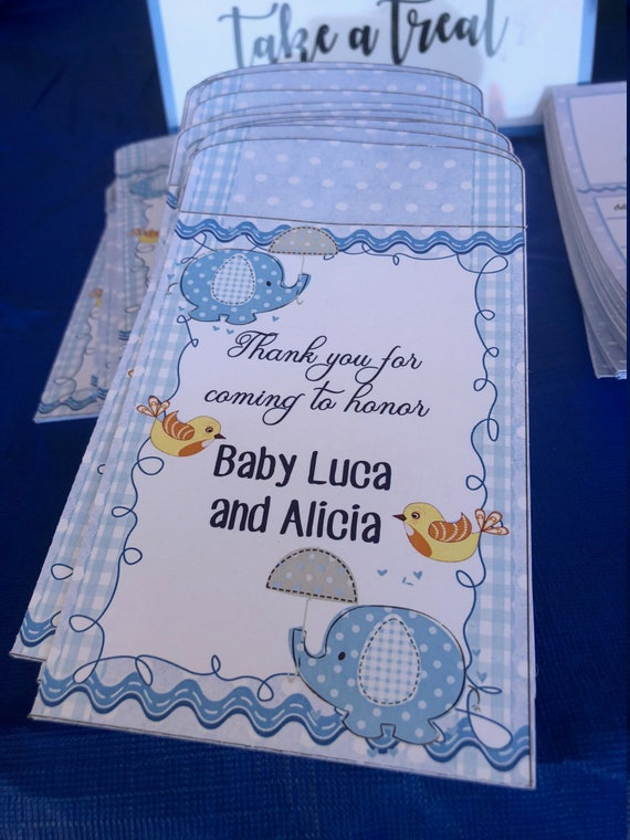 Baby Boy Shower Seed Packet, Baby Shower Seed Packet, Elephant Baby Shower Favors, Baby Shower seed packet favor. Set of 10.