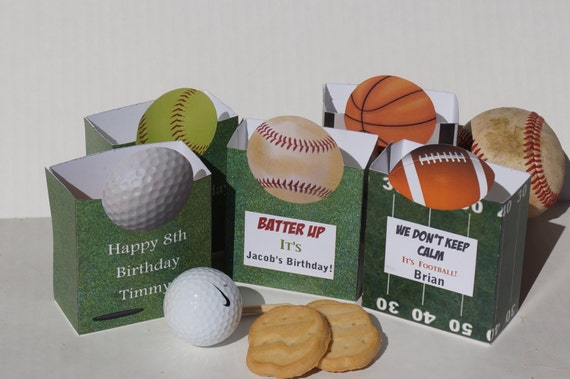 Sports Party Favors, party box, Baseball, football, golf, party, softball,tennis basketball, sport banquet. Set of 10. US open party favors