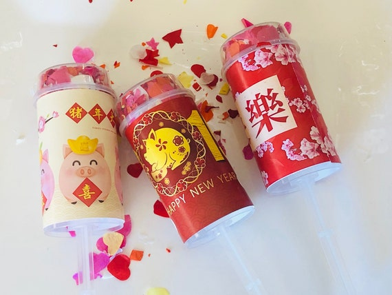 Confetti Poppers, Chinese New Year Confetti Poppers, Personalized Confetti Poppers, Chinese New Year Party Poppers