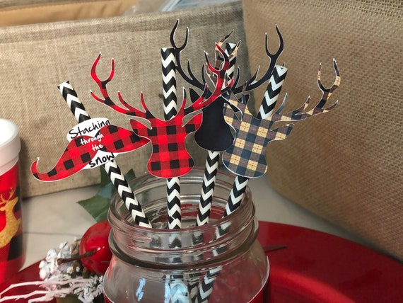 Lumberjack Straw Decorations, Christmas Straw Decorations, Lumberjack Straws, Buffalo Plaid Straw Decorations. Set of 20.