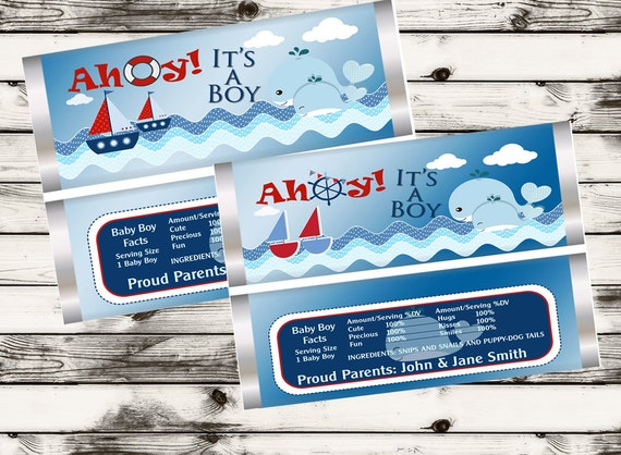 Nautical Ahoy It's a Boy, Nautical Baby Candy Bar Wrappers, Baby Nautical Shower, Ahoy It's a Boy, whale Baby Shower favors.Set of 20.