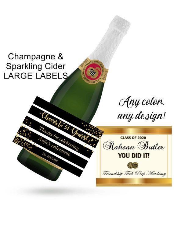 12 Designs.Sparkling Cider & Champagne Celebratory Labels,Champagne Labels,Graduation Champagne Labels,Birthday Champagne Labels. Set of 4.