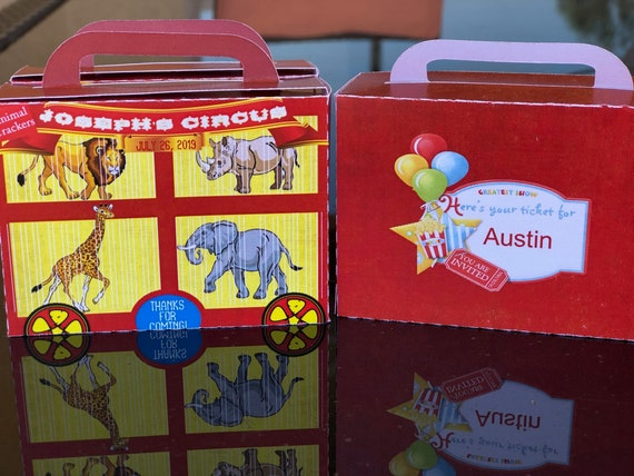 Animal Crackers Suitcase Favors, Animal Crackers boxes, Circus Birthday Favor Box, Circus Birthday Party Boxes .Sets of 10