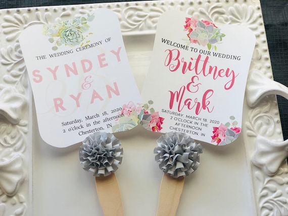 Set of 10. Fully Assembled Wedding Fans, Succulent Hand Fans, Personalized Fans, Paddle Fans, Wedding Fans Favors, Wedding Favors, Succulent