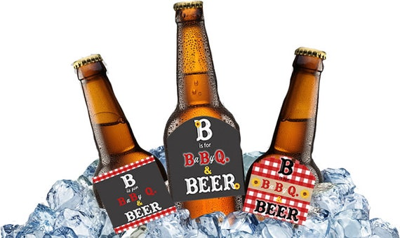BBQ Theme Beer Bottle Labels, Baby Q Beer Bottle Labels, Baby Shower BBQ Bottle Labels, Baby Shower BBQ Theme Beer Labels. Set of 12