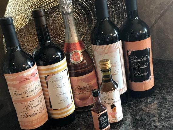 Rose Gold Large Wine Bottle labels, Rose Gold Champagne Bottle Labels, Rose Gold Bridal Shower, Rose Gold Baby Shower. Read listing desc.