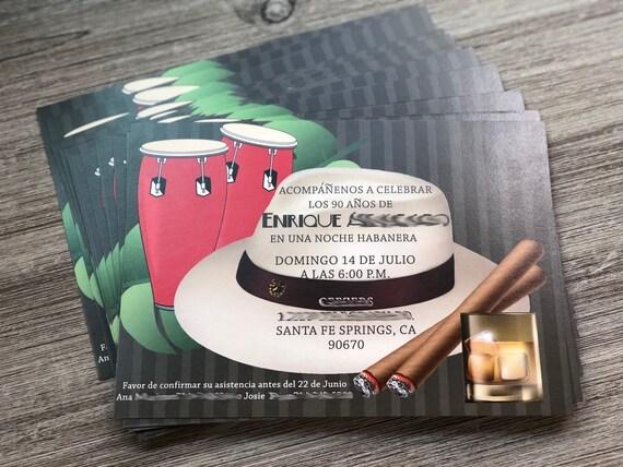 Mambo Party Invitations, Cha Cha Party Invitations, Bongo Party Invitations, Tropical Party Invitations.  Set of 24