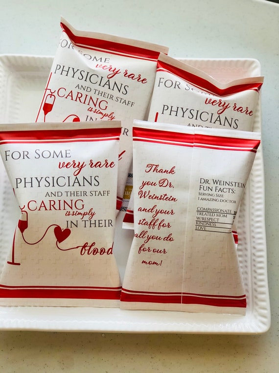 FULLY ASSEMBLED Physician's Week Personalized Chip Bags, Doctor's Week Chip Bags, Medical Staff Appreciation Day Chip Bags. Set of 12