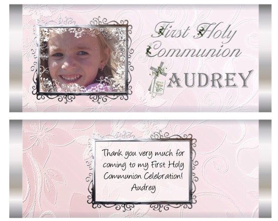 FULLY ASMBLD. Girls First Holy Communion,Holy Communion favors,Communion chocolate bars, Communion Personalized Chocolate Bars. Set of 20.