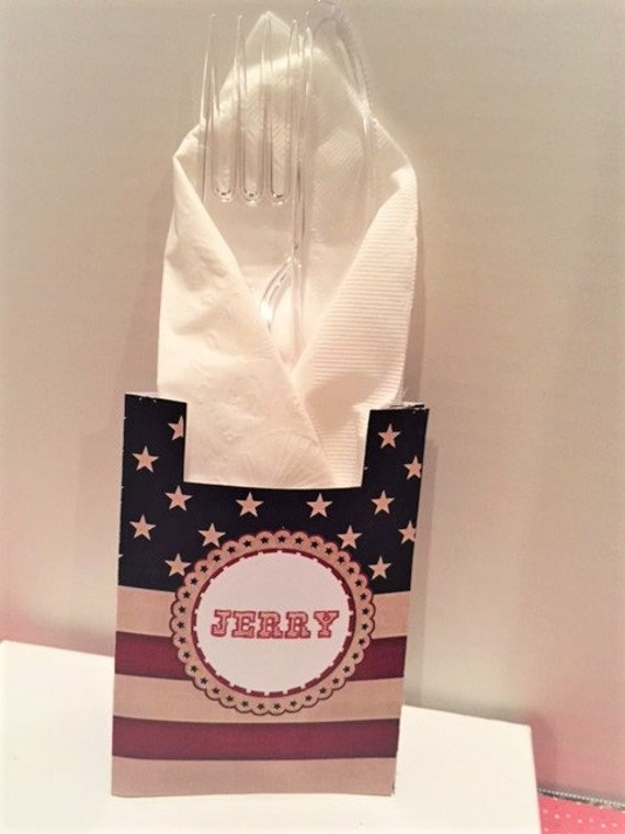 ORDER before 6/28 to receive by 7/3.Personalized Patriotic Utensil Holders and Salt and Pepper Shaker labels in sets of individual.Set of 12