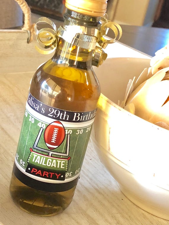 Touchdown Football Favors, Football Mini Wine Bottle Labels, Football Party Favors, Tailgate Party Favors,  Set of 9.
