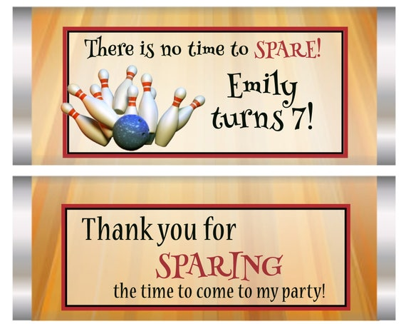 Bowling Party Favors, Bowling Chocolate Bars, Bowling, Bowling theme party, Bowling Party Favors.  Set of 20