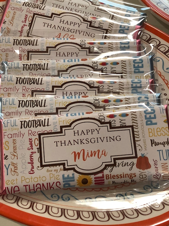 Thanksgiving Candy Bar Wrappers,Thanksgiving party favors, Thanksgiving Guests Candy Bar Wrappers,Thanksgiving Table Favors. Set of 20.