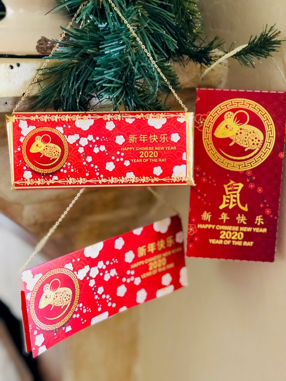 Fully Assembled or Wrappers ONLY. Chinese New Year Chocolate Bars,Chinese Year of the Rat Chocolate Bars,Year of the Rat Chocolate.Set of 20