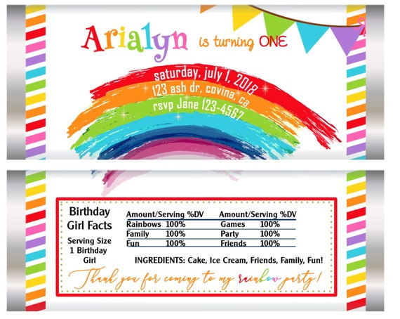 FULLY ASSEMBLED. Rainbow theme birthday party Chocolate Wrappers, Rainbow Birthday Party, Rainbow Wrappers. Set of 20